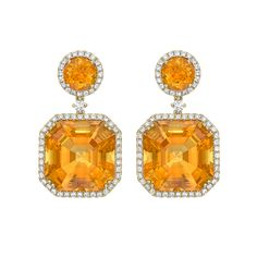 Citrine and Diamond Drop Earrings in 18ct Yellow Gold