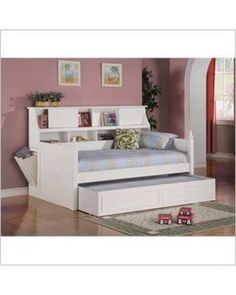 Coaster Daisy Bookcase Wood Daybed with Under-Bed Trundle in White from Cymax | BHG.com Shop