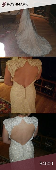 Elegant Wedding Dress White lace overlay ivory with pearls and Schwartzsky Crystals. Zipper closure with buttons down the back. Altered from a size 12. Love the train 😍 Fully lined. One owner. Reserved in a sealed bag. Feel free to ask any questions 💓 Selling for my cousin Maggie Sottero Dresses Wedding