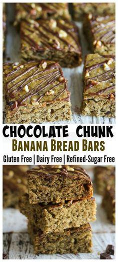 Chocolate Chunk Banana Bread Bars; gluten free, dairy free and refined-sugar…