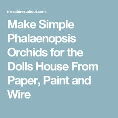 Make Simple Phalaenopsis Orchids for the Dolls House From Paper, Paint and Wire