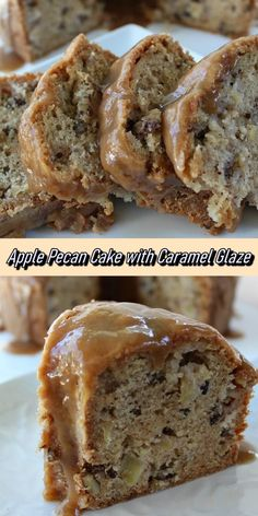 Apple Pecan Cake with Caramel Glaze - Recipe Notes Mini Desserts, Apple Desserts, Fall Desserts, Just Desserts, Delicious Desserts, Yummy Food, Oreo Dessert, Eat Dessert First, Apple Cake Recipes