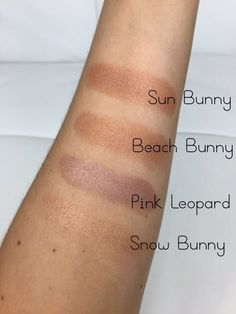 Too Faced The Little Black Book of Bronzers - Shimmer Swatches - Snow Bunny, Pink Leopard, Beach Bunny & Sun Bunny