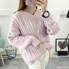"Пуловер ""Розовая зефирка"" спицами - Вяжем вместе он-лайн - Страна Мам"