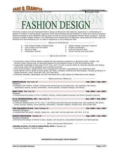 fashion designer resume sample - Fashion Design Resume Template