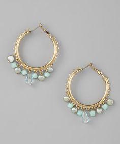 Aqua Crystal Hoop Earrings by Liz Palacios on today! Liz Palacios, Blue Crystals, Bling Bling, Aqua, Give It To Me, Beaded Bracelets, Hoop Earrings, Pearls, Boho
