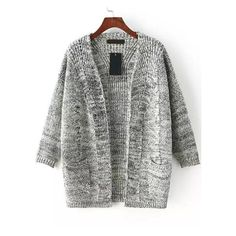 With Pockets Cable Knit Grey Cardigan (25 CAD) ❤ liked on Polyvore featuring…