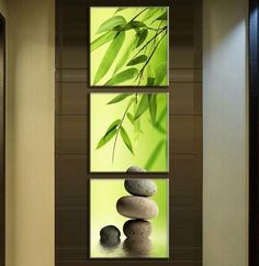 Wall Art Picture Modern Home Decoration Living Room Or Bedroom Canvas 3 Panel Bamboo And Stones Print Painting Wall Picture Modern Interior Design, Interior Design Living Room, Living Room Designs, Living Room Decor, Interior Ideas, Bamboo In Pots, Bamboo Lamp, Living Room Pictures, Wall Art Pictures