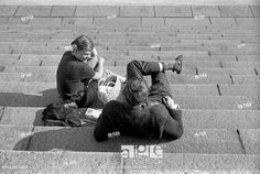 Stock Photo: Two young people chatting on a staircase. Stock Pictures, Stock Photos, Young People, Photo Library, Finland, 1960s, Couple Photos, Fictional Characters, Image