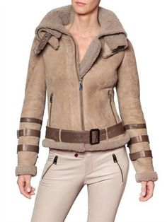 ShopStyle: Nv By Natacha & Vanessa - Buckled Shearling Biker Jacket