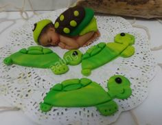 Baby Turtle Set Fondant Cake Toppers Birthday by anafeke2 on Etsy