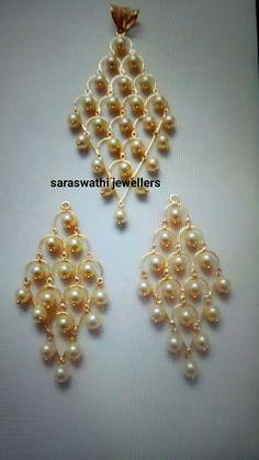 Jewelry Design Earrings, Gold Earrings Designs, Gold Jewellery Design, Pendant Jewelry, Beaded Jewelry, Pendant Set, Gold Jewelry Simple, Coral Jewelry, Bridal Jewelry