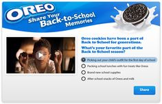 Oreo Back to School - Looking to target families with kids during the Back to School timeframe, Oreo asked consumers to go back to their favorite Back to School moments by answering a question and uploading a photo. In the first day of the campaign, SocialVibe drove 5X the number of photos that had been driven by other media.