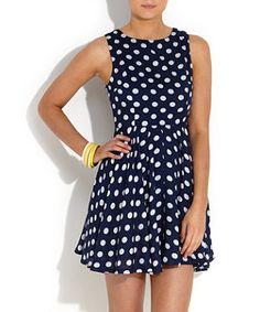 Blue (Blue) AX Paris Navy Polka Dot Skater Dress | 257626240 | New Look