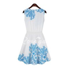 Ladylike Style Sleeveless Scoop Collar A-Line Floral Print Women's Sundress