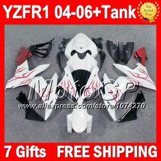 Купить товар7 подарки + красный пламя для YAMAHA 04 06 YZF R1 YZF 1000 04 05 06 P101143 YZF R1 горячий красный белый YZF1000 YZFR1 2004 2005 2006 обтекателя в категории Щитки и художественная формовкана AliExpress.                              Удостоверение личности aliexpress: MotoGP