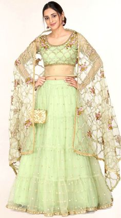 Light Olive Green Net Lehenga Choli