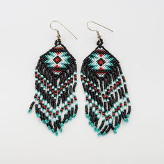 Winnebago loom beaded chic Earrings, Native American long fringe earrings, black red turquoise navajo, beaded fringe earrings, boho cowgirl