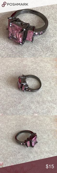 ❤VDay Sale❤ NWOT! Pink Sapphire CZ Ring Sz 7 Beautiful Fashion Ring! Stones are lab created. Gunmetal colored metal. 10K Gold Filled. Bundle for discounts! Thank you for shopping my closet! Jewelry Rings
