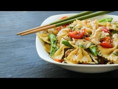 A refreshing light pasta salad with a delicious Asian flair. Great for a summer cookout or picnic. Salad Dressing Recipes, Chicken Salad Recipes, Chicken Pasta, Chicken Club, Veggie Pasta, Penne Pasta, Light Pasta Salads, Best Pasta Salad, Sesame