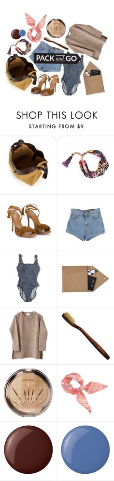 """""""happy tourist"""" by foundlostme ❤ liked on Polyvore featuring Loewe, Aquazzura, Chicnova Fashion, STOW, Essie, denim, shorts, Packandgo and bathsuit"""