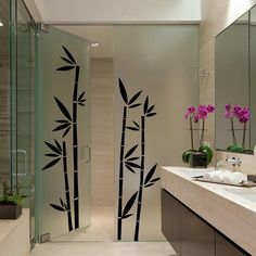 Bamboo Wall Decal Cute Vinyl Sticker Home Arts Floral Wall Decals Painted Bamboo, Bamboo Wall, Glass Design, Wall Design, Butterfly Wall Decals, Shower Cabin, Bedroom Closet Design, Vinyl Wall Stickers, Floral Wall