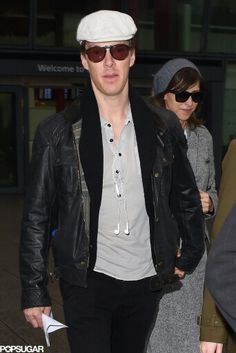 Benedict Cumberbatch and Fiancee Sophie Hunter at Heathrow airport in London January 4th, 2015