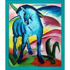 La Pastiche Franz Marc 'Blaues Pferd I - Monaco' Hand Painted Framed Oil Reproduction on Canvas