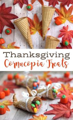 Make these cute sugar cone cornucopia treats with the kids the day before Thanksgiving, then put them on the Thanksgiving table to use as decorations or place cards! Cute food craft for Fall and they are easy to do too!