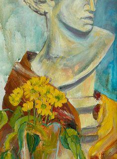 Study in the Studio   Acrylic Still Life with Sculpture   Original Acrylic Painting   Dora Stork   Encaustic Artist Painting Still Life, Stork, Acrylic Paintings, Recovery, College, Sculpture, Studio, Artist, University