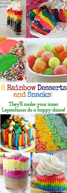 8 Rainbow Desserts that will make your inner Leprechaun do a happy dance! Awesome treat ideas for St. Patrick's day!   www.thirtyhandmadedays.com
