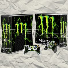 Monster Energy XBOX 360 Skin Set - Console with 2 Controllers 300 Gamer Humor, Gaming Memes, Xbox Controller, Xbox Xbox, Calvin And Hobbes Comics, Custom Consoles, Nintendo Switch Accessories, Xbox 360 Console, New Video Games