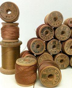 Vintage Silk Thread on Wooden Spools.