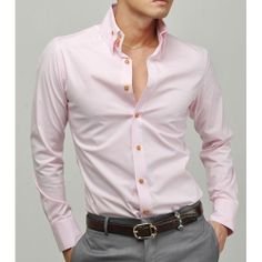 Pink Slim Fit Long Sleeve Button Down Casual Dress Shirts for Men SKU-142123