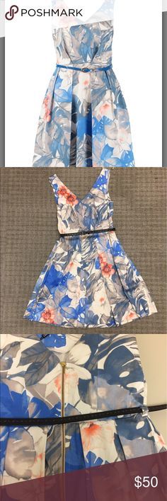 NWT Modcloth Floral dress w/pockets and belt Another heartbreaker. UK size 8. Fits like a US 2. I thought it would fit like a small but it fits closer to xs (failure to read on my part!). So many cute details. Gold zipper in back, pockets, & belt. This belt is black -  stock photo shows blue. ~26 in waist & almost 16 in from pit to pit. 34 inches long. So so cute! Can't return. I paid $79 plus shipping. From modcloth's closet London collection! Only flaw is the ribbons (for hanging up)…