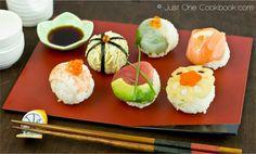 Temari Sushi Recipe - hand-rolled sushi balls | JustOneCookbook.com