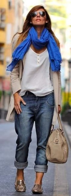 Boyfriend jeans work great for layering