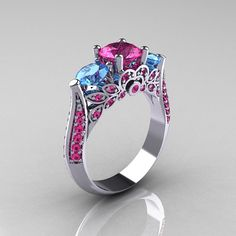 Classic 18K White Gold Three Stone Blue Topaz Pink by artmasters, $1359.00