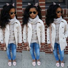 """Sunday funday before we headed out Hails said """"Mom take a pic of my model face """" 😂😂 and she then said """"wait my ears look perfect with my look"""".not your average 6 year old. Little Girl Outfits, Cute Outfits For Kids, Little Girl Fashion, Toddler Outfits, Fashion Kids, Diva Fashion, Toddler Fashion, Kids Mode, Outfits Niños"""