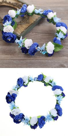 Cfrmall Flower Wreath Headband Crown Floral Garland for Festival Wedding (Dark blue&Royal blue&White)