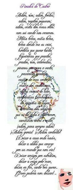 Rosalía de Castro. Adiós ríos, adiós fontes...#rosaliadecastro #cantaresgallegos