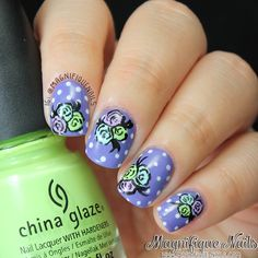 Mani Swap: Polka Dots and Floral Nails