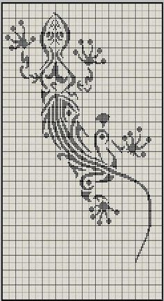 Free chart lizard - in Arizona we are used to lizards & often incorporate them into our decor. I see mostly shades of brown or green & there are some black lizards. Filet Crochet, Crochet Chart, Cross Stitch Charts, Cross Stitch Designs, Cross Stitch Patterns, Celtic Cross Stitch, Blackwork, Cross Stitching, Cross Stitch Embroidery