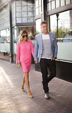 Chambray item blazer , white Breton tee, pink dress , skinny jean
