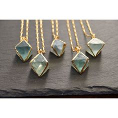 """Mint Jules Raw Fluorite Stone Necklace with 24k Gold Overlay Pendant Necklace 22"""" - 26"""" Adjustable"""