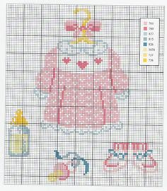 Baby Girl Pink Dress Booties Pacifier and Bottle Cross Stitch Pattern Baby Cross Stitch Patterns, Cross Stitch Art, Beaded Cross Stitch, Crochet Cross, Hand Embroidery Patterns, Cross Stitch Designs, Cross Stitching, Cross Stitch Embroidery, Pixel Art