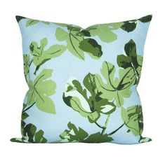 Pillow cover Fig Leaf Original on Blue floral Spark Modern Blue Pillow Covers, Blue Pillows, Down Pillows, Throw Pillows, Peter Dunham, Fig Leaves, Modern Pillows, Modern Colors, Shades Of Green