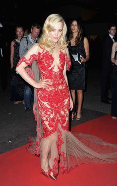 Rachel McAdams red applique lace
