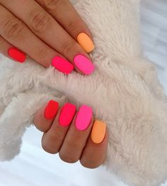 23 Matte Nail Art Ideas That Prove This Trend is Here to Stay Page 2 of 2 StayGlam Neon Nail Art, Matte Nail Art, Neon Nails, My Nails, Neon Nail Colors, Matte Gel Nails, Bright Gel Nails, Bright Colored Nails, Rainbow Nail Art