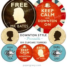 PRINTABLE Downton Abbey Season 3 Edwardian Victorian theme Cupcake Toppers party decorations